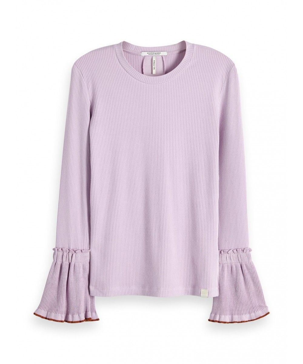 Maison Scotch Long sleeve rib tee with flare
