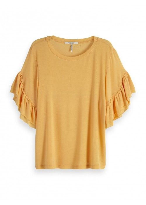 Maison Scotch Ruffled short sleeve tee