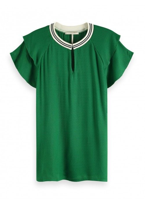 Maison Scotch rayon top with sporty rib