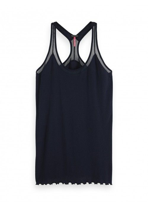 Maison Scotch Jersey rib tank with mesh