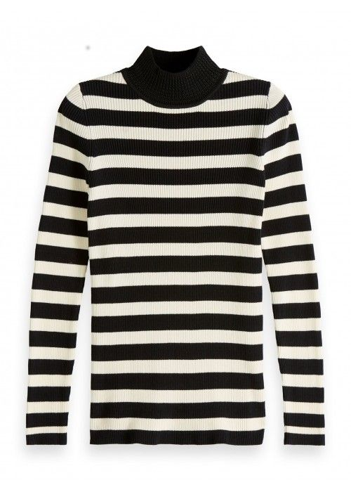 Maison Scotch Fitted rib knit with high neck