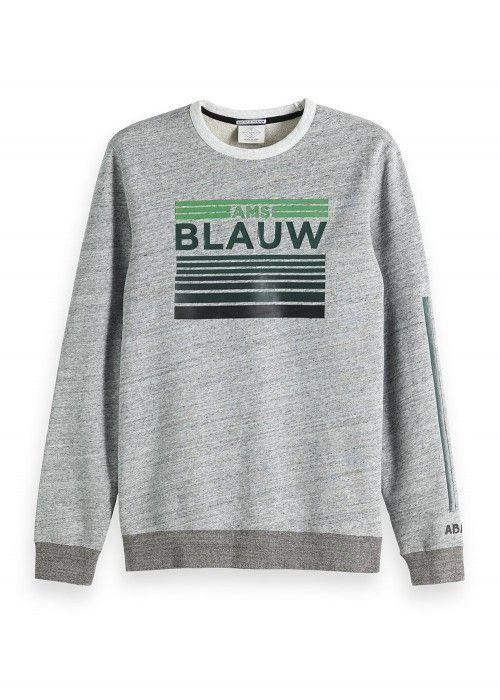 Scotch & Soda AMS Blauw artwork crewneck