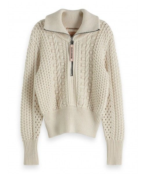 Maison Scotch Anorak knit in cable stitch