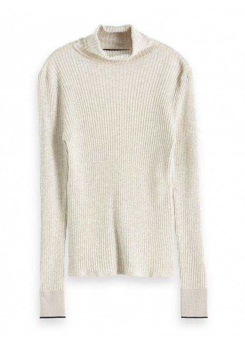 Maison Scotch Fine rib knitted turtle neck