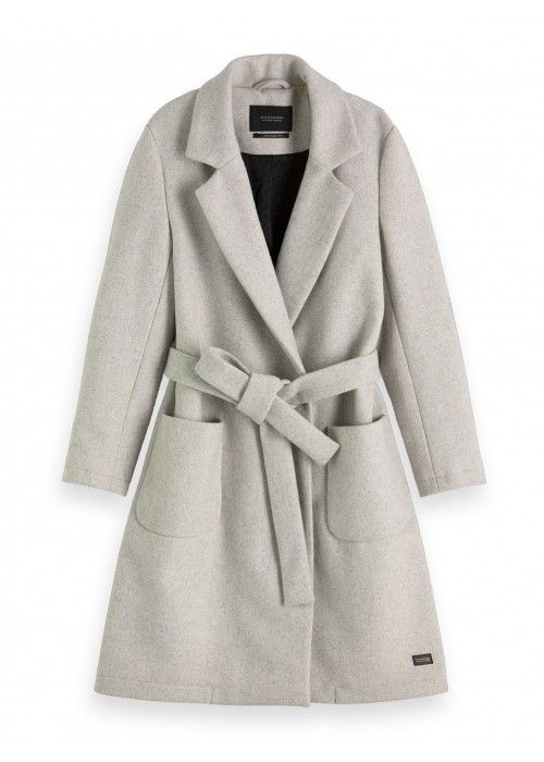 Maison Scotch Wool wrap coat with belt