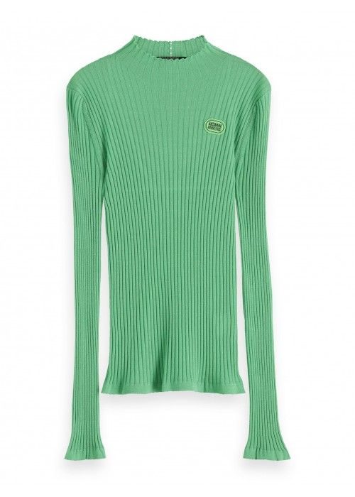 Maison Scotch Fine gauge rib turtle neck