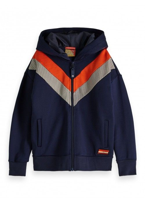 Scotch Shrunk Colour-block zip through hoody
