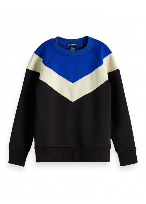 Scotch Shrunk Colour-block crewneck sweat