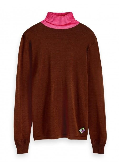 Scotch & Soda Turtleneck pullover with contr