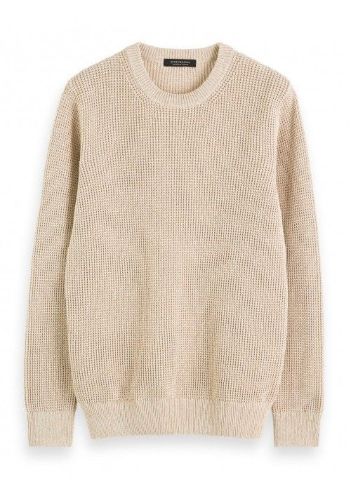 Scotch & Soda Structured crewneck pull