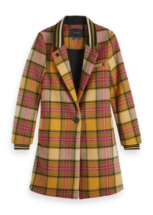 Maison Scotch Bonded checked coat