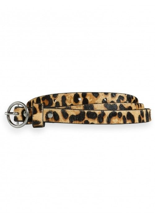 Maison Scotch Leather belt with animal print