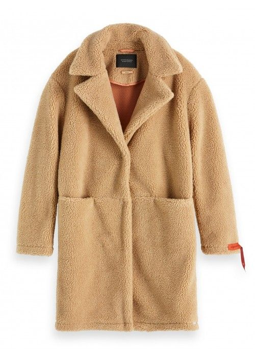 Maison Scotch Bonded teddy jacket