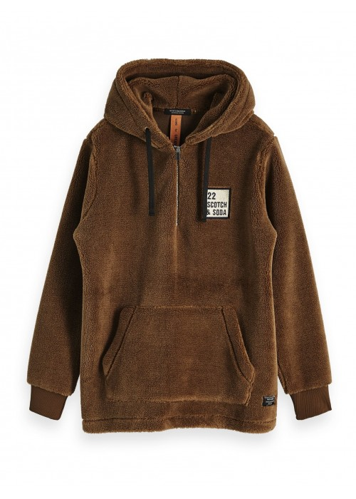 Scotch & Soda Half zip hoody in teddy