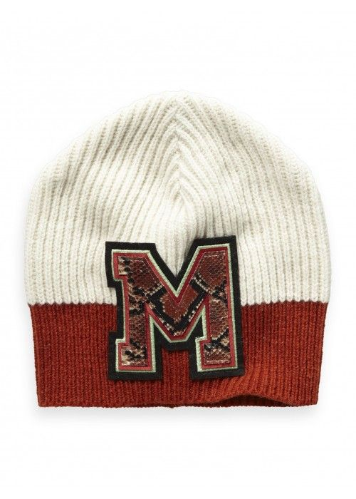 Maison Scotch Varsity colour block beanie