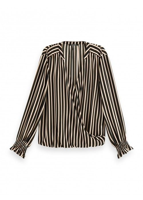 Maison Scotch Wrap-over top with smocked cuf