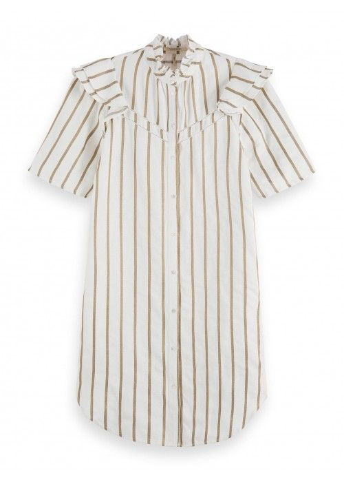 Maison Scotch Metallic striped dress