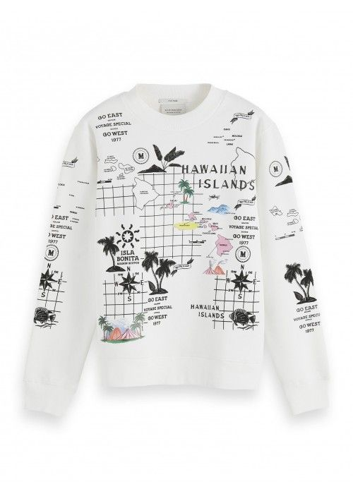 Maison Scotch Crewneck sweat with printed