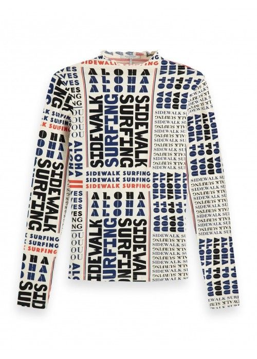 Maison Scotch Printed long sleeve tee