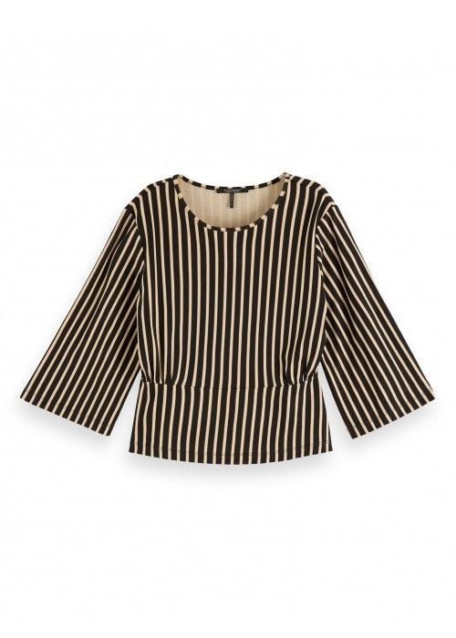 Maison Scotch Striped printed tee with wider