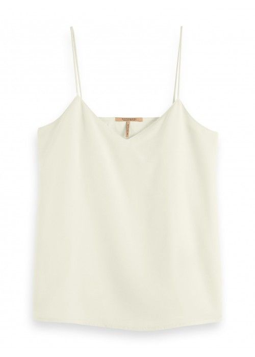 Maison Scotch Jersey tank top with woven