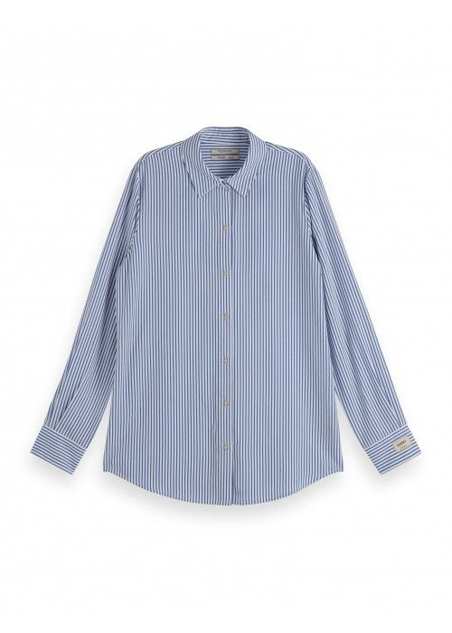 Maison Scotch Striped oversized shirt in