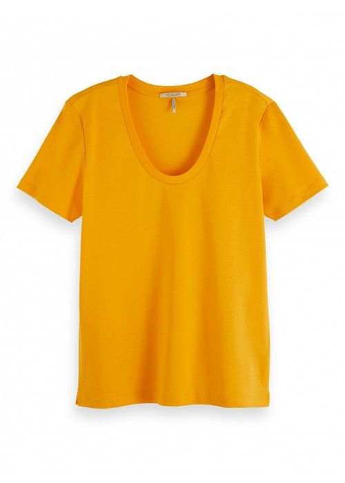 Maison Scotch Scoop-neck basic tee in