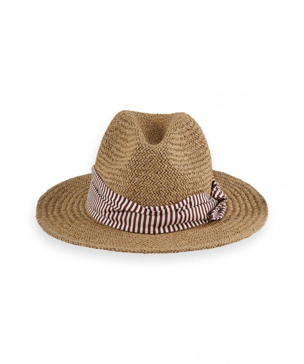 Maison Scotch Straw hat with printed scarf