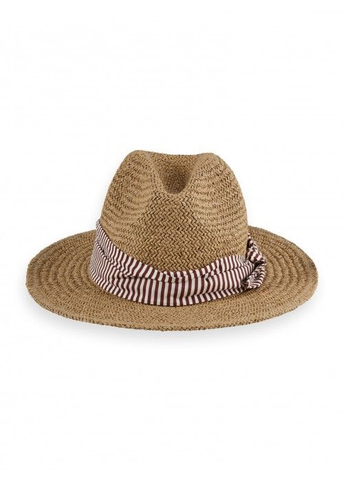Maison Scotch Straw hat with printed scarf