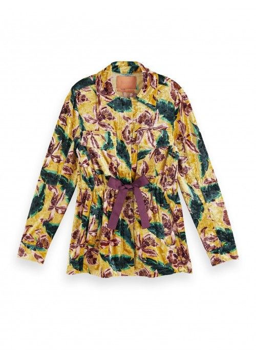Maison Scotch Floral printed velvet jacket