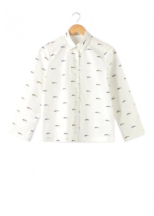 Nice Things Basic Shirt Little Fish Print