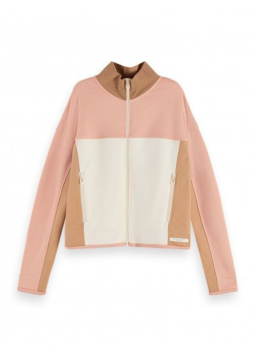 Maison Scotch Colour block zip through sweat