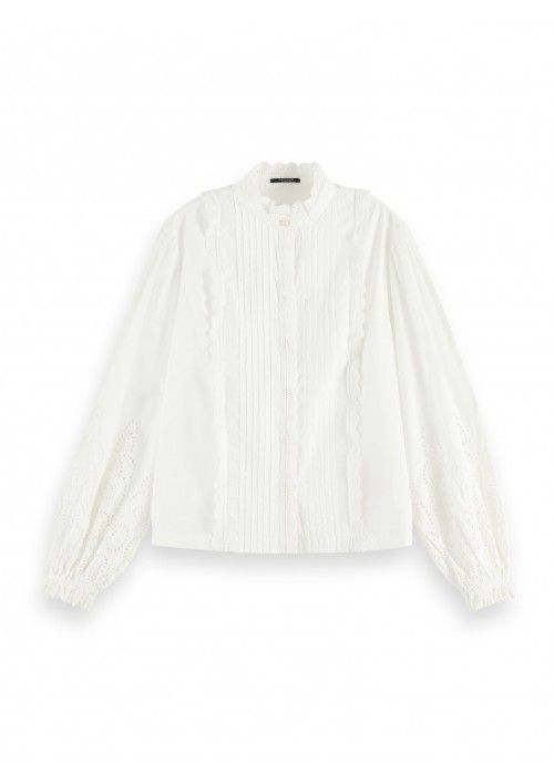 Maison Scotch Crispy cotton top with broderi