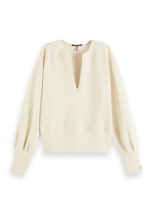 Maison Scotch Soft Sweat with open neck