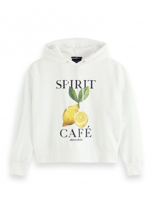 Maison Scotch Loose fit hoody with photoprnt