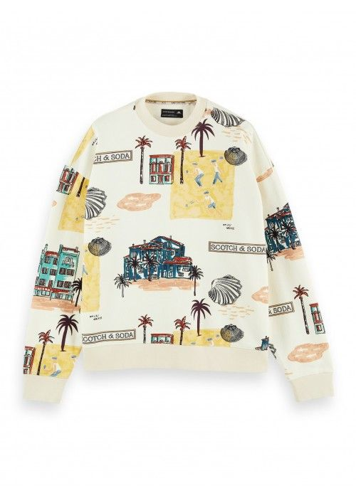 Scotch & Soda All-over printed felpa crewnec