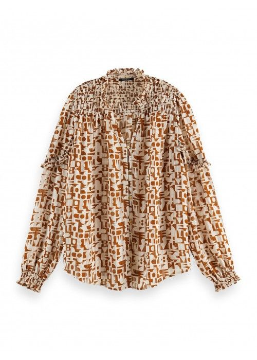 Maison Scotch Sheer Shirt with allover print