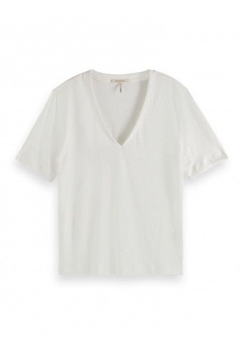 Maison Scotch Classic linen tee with V-neck