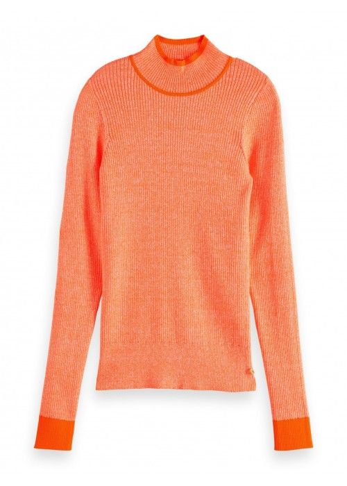 Maison Scotch Fitted long sleeve knit in rib